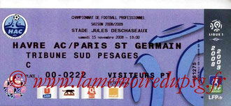 Ticket  Le Havre-PSG  2008-09