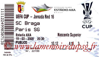 Ticket Braga-PSG  2008-09