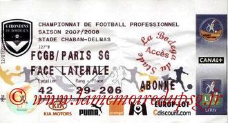 Ticket  Bordeaux-PSG  2007-08