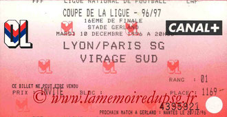 Ticket  Lyon-PSG  1996-97