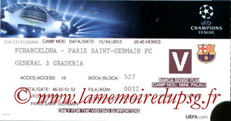 Ticket  Barcelone-PSG  2012-13