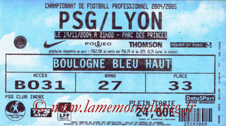Ticket  PSG-Lyon  2004-05