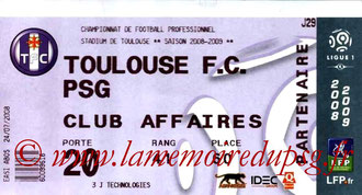Ticket  Toulouse-PSG  2008-09