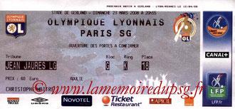 Ticket  Lyon-PSG  2007-08