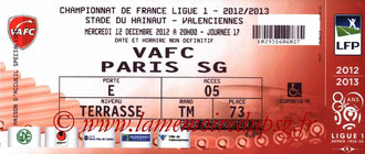 Ticket  Valenciennes-PSG  2012-13