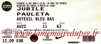 Ticket  Jubile Pauleta  2008-09