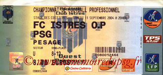 Ticket  Istres-PSG  2004-05