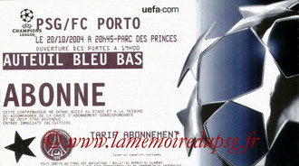 Ticket  PSG-Porto  2004-05