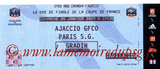 Ticket  PSG-Gazelec Ajaccio  2008-09