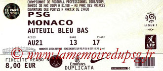 Ticket  PSG-Monaco  2008-09