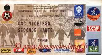 Ticket  Nice-PSG  2004-05