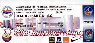 Ticket  Caen-PSG  2007-08