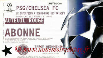 Ticket  PSG-Chelsea  2004-05