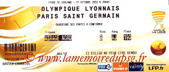 Ticket  Lyon-PSG  2010-11