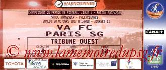 Ticket  Valenciennes-PSG  2007-08
