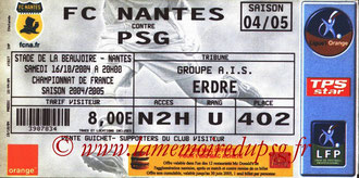 Ticket  Nantes-PSG  2004-05