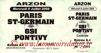 Ticket  PSG-Pontivy  2008-09
