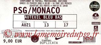 Ticket  PSG-Monaco  2007-08