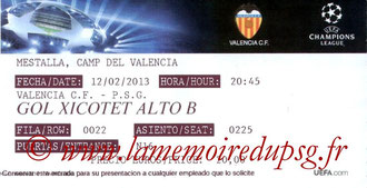 Ticket  Valence-PSG  2012-13