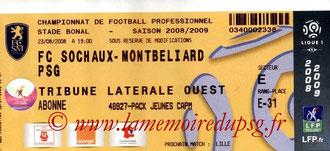 Ticket  Sochaux-PSG  2008-09