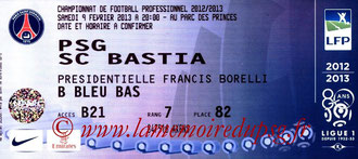 Ticket  PSG-Bastia  2012-13