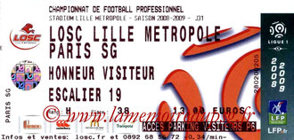 Ticket  Lille-PSG  2008-09