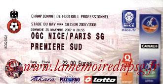 Ticket  Nice-PSG  2007-08