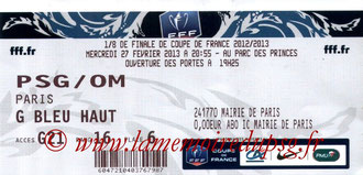 Ticket  PSG-Marseille  2012-13