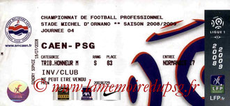 Ticket  Caen-PSG  2008-09