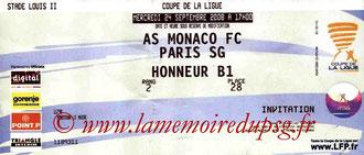 Ticket  Monaco-PSG  2008-09