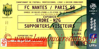Ticket  Nantes-PSG  2008-09