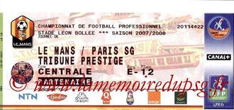 Ticket  Le Mans-PSG  2007-08