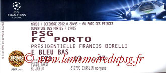 Ticket  PSG-Porto  2012-13