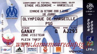 Tickets  Marseille-PSG  2008-09