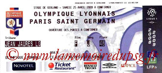 Ticket  Lyon-PSG  2008-09