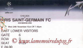 Ticket  Chelsea-PSG  2004-05