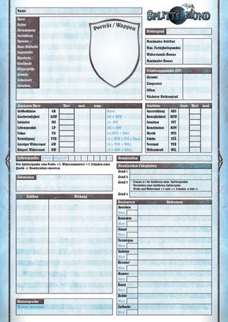 Splittermond Charakterdokument Download Deluxe