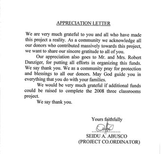 Letter of Appreciation - September 2008