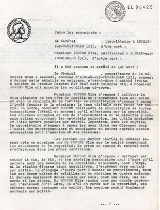 Extrait du contrat de métayage définissant les relations entre la famille Fontés et le propriétaire.