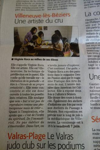 Article de presse de l'artiste Virginie Roca