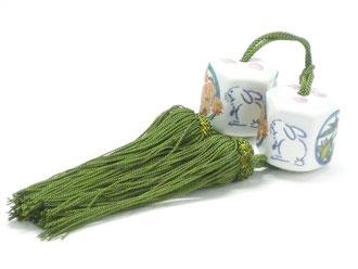 九谷焼通販 おしゃれ 風鎮 床の間関連 掛け軸 ウサギ 白兎 竹梅桜 六角
