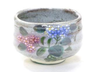 百華園 九谷焼 抹茶碗 がく紫陽花