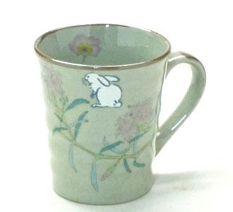 九谷焼『マグカップ』白兎なでしこソメイヨシノ『裏絵』