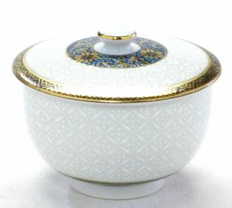 百華園-九谷焼 蓋付湯呑 白七宝