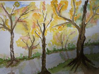 Herbstwald nach Vorlage