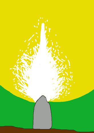 Représentation schématique de la projection tellurique du menhir (explosion de l'énergie tellurique extraite du courant  tellurique au moment de sa rencontre avec les énergies cosmiques).