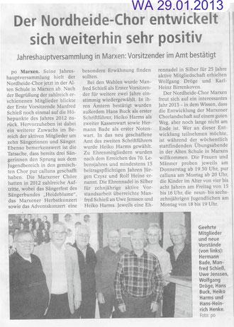 Bericht Jahreshauptversammlung 2013 (WA vom 29.01.2013)