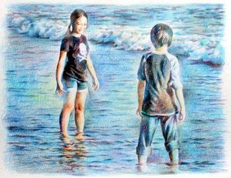 海辺の子供2011−1 紙に色鉛筆 23*33cm