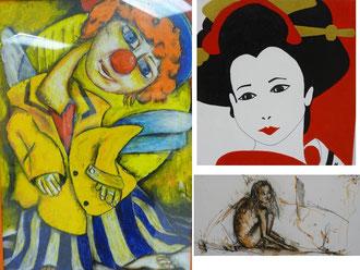 A gauche oeuvre de Fabrice L'HENAFF , En haut à droite celle de Marie Eve BOUTRY, au dessous l'oeuvre de Marie Claude GROUSSARD