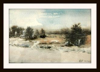 Fagnes en hiver. aquarelle. D.Petit